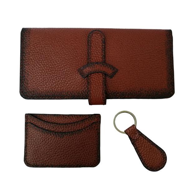 ست کیف پول و جاکارتی و جاکلیدی چرمی مدل kh0081