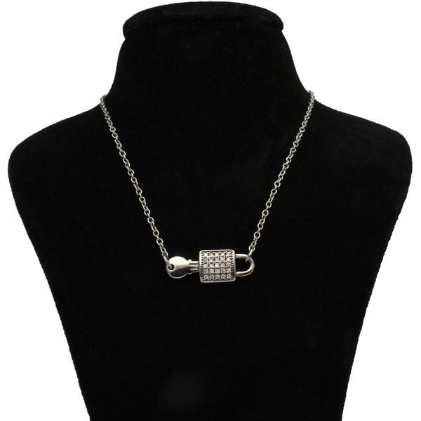 گردنبند نقره زنانه طرح قفل کد 213