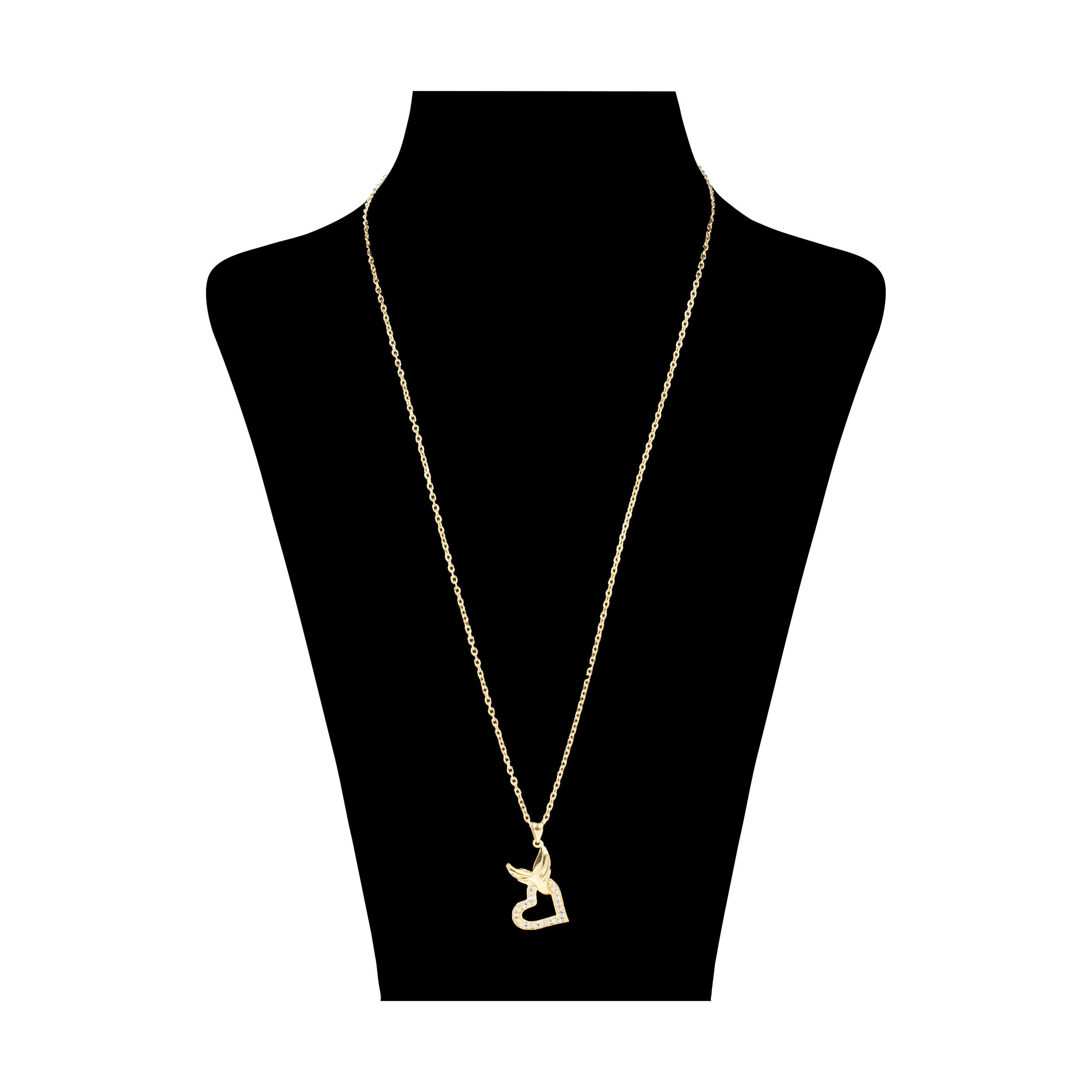 گردنبند نقره زنانه طرح قلب فرشته کد M016