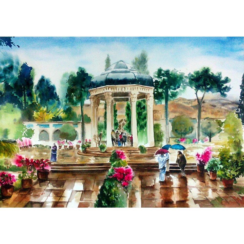 خرید                      تابلو نقاشی آبرنگ طرح حافظیه کد WS_012