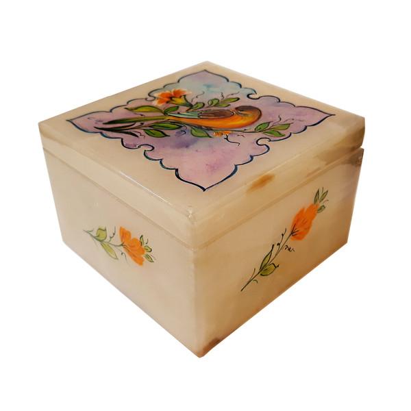 جعبه سنگ مرمر طرح گل و مرغ مدل 30099-3
