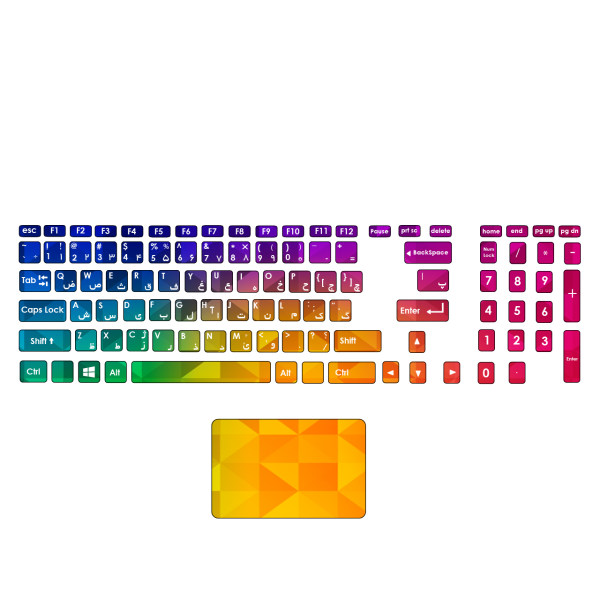 استیکر لپ تاپ صالسو آرت مدل mjr 1002 به همراه برچسب حروف فارسی کیبورد