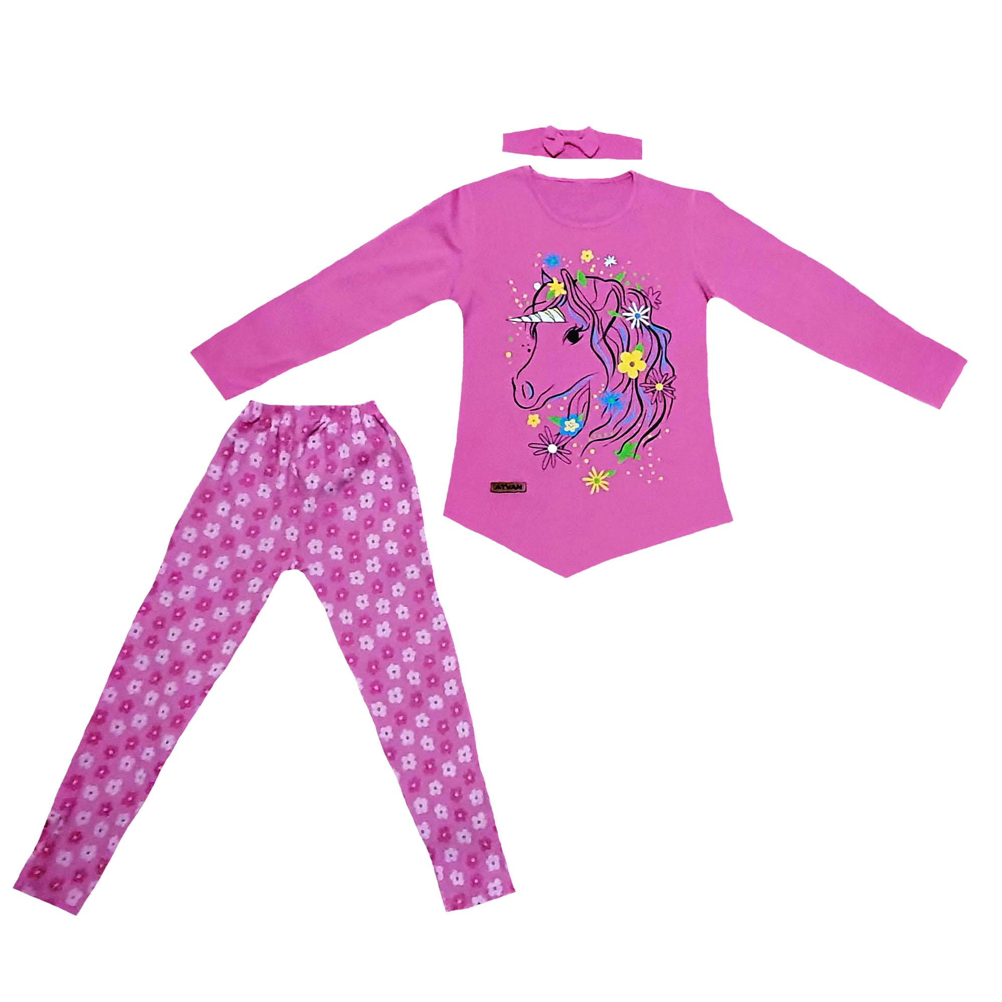 ست 3 تکه لباس دخترانه طرح اسب تک شاخ کد 98120104