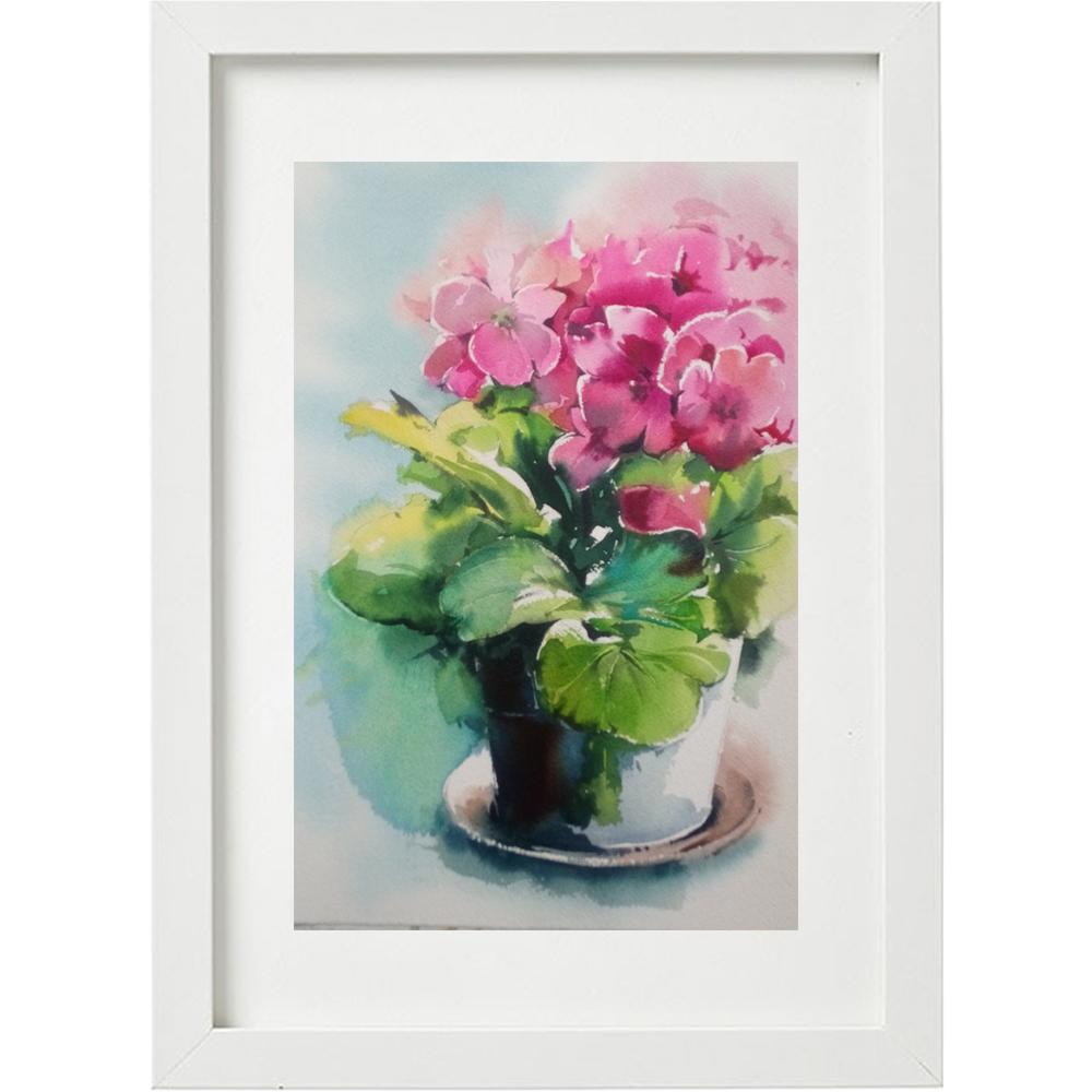تابلو نقاشی آبرنگ طرح گلدان گل کد WS_023