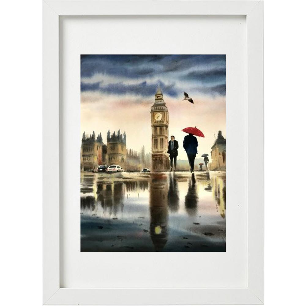 خرید                      تابلو نقاشی آبرنگ طرح برج ساعت لندن کد WS_024