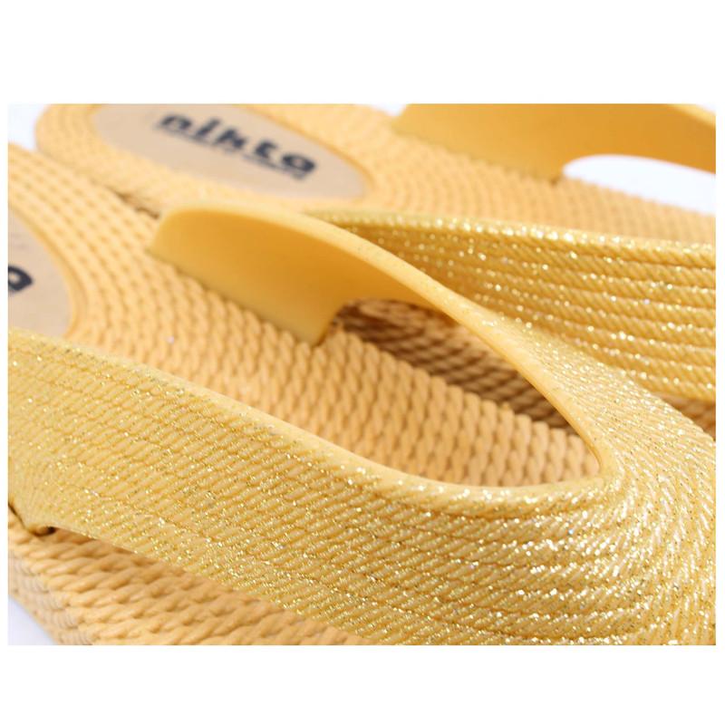 دمپایی لاانگشتی زنانه نیکتا مدل LPC012 کد L1- 02 رنگ طلایی