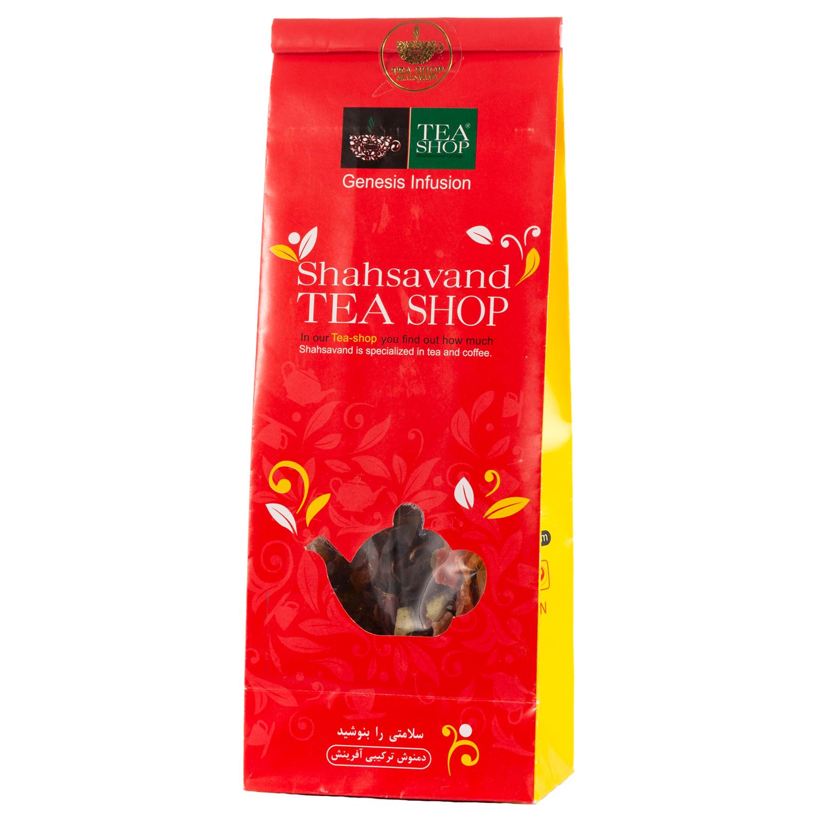 دمنوش مخلوط گیاهی آفرینش تی شاپ حاوی چای ترش و میوه های استوایی - بسته 100 گرم