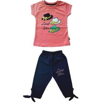 ست تی شرت و شلوارک دخترانه کد C-1004