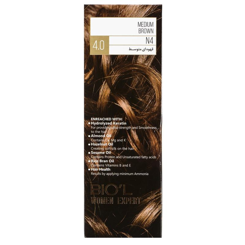 کیت رنگ مو بیول شماره 4.0 حجم 100 میلی لیتر رنگ قهوه ای متوسط