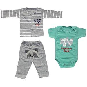 ست 3 تکه لباس نوزادی پسرانه طرح راکن کد 3045