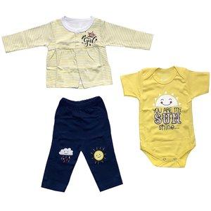 ست 3 تکه لباس نوزادی دخترانه طرح خورشید کد 3047