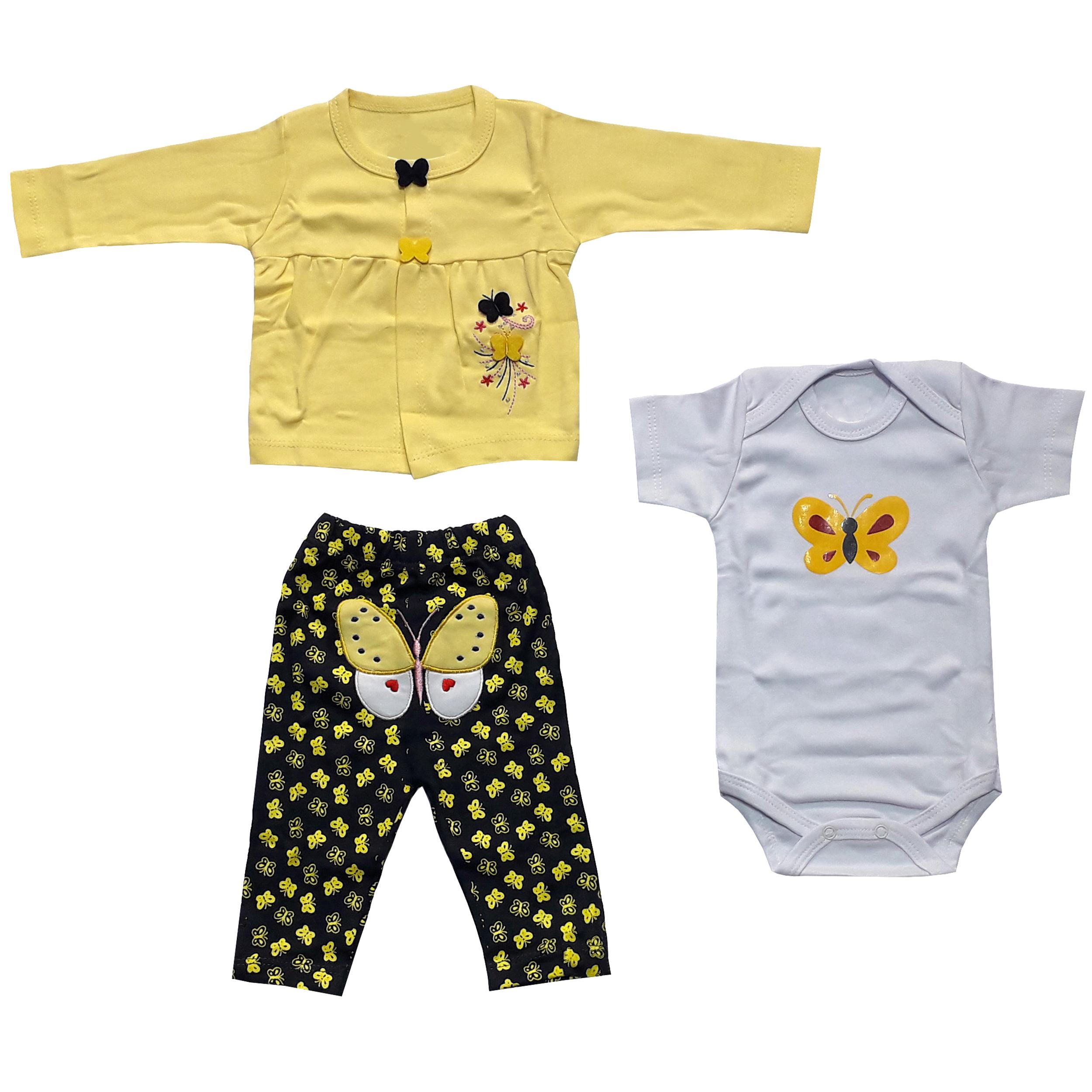 ست 3 تکه لباس نوزادی دخترانه طرح پروانه کد 3048