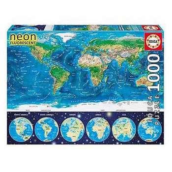 پازل 1000 تکه ادوکا مدل  WORLD MAP NEON