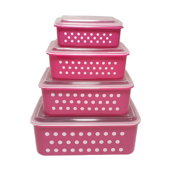 ظروف نگهدارنده غذا فرش کیپس طرح خالدار کد ZA2 مجموعه 4 عددی