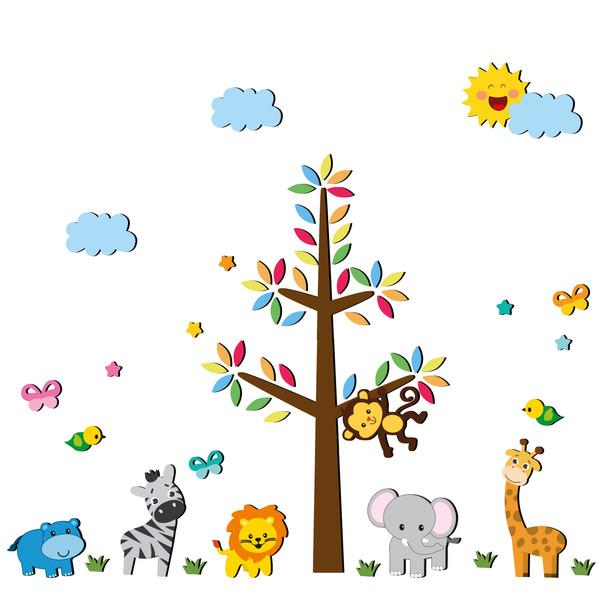 استیکر چوبی ژیوار طرح حیوانات رنگارنگ جنگل