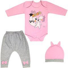 ست 3 تکه لباس نوزادی دخترانه طرح روباه کد M236