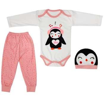 ست 3 تکه لباس نوزادی دخترانه مدل PANG1PNK