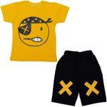 ست تیشرت و شلوارک پسرانه طرح دزد دریایی کد 3 رنگ زرد