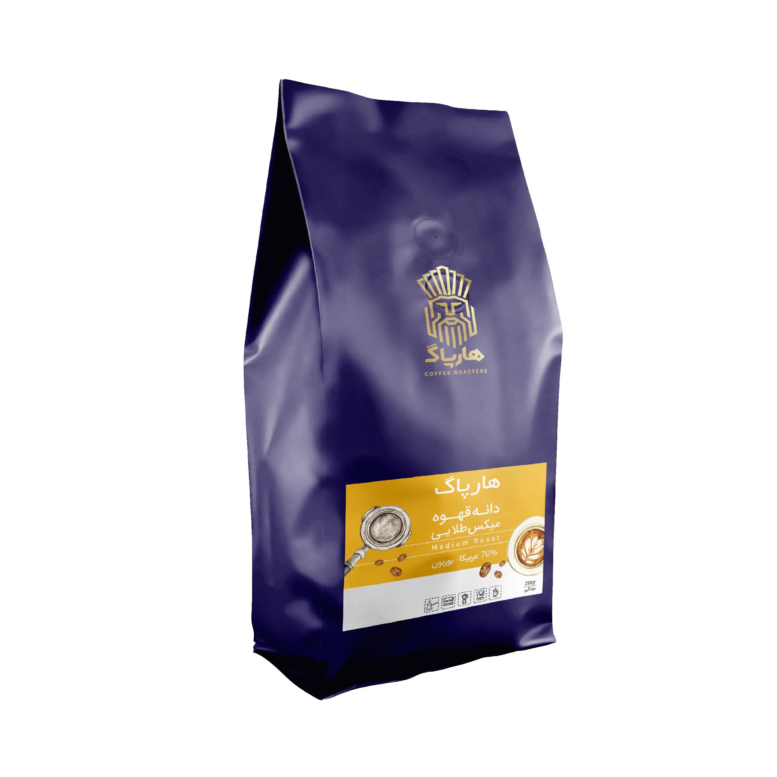 دانه قهوه هارپاگ بربون طلایی 250 گرم