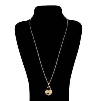 گردنبند زنانه طرح قلب و قفل کد F689