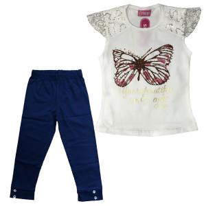 ست تی شرت و شلوارک دخترانه طرح پروانه مدل A&S7173 رنگ سرمه ای