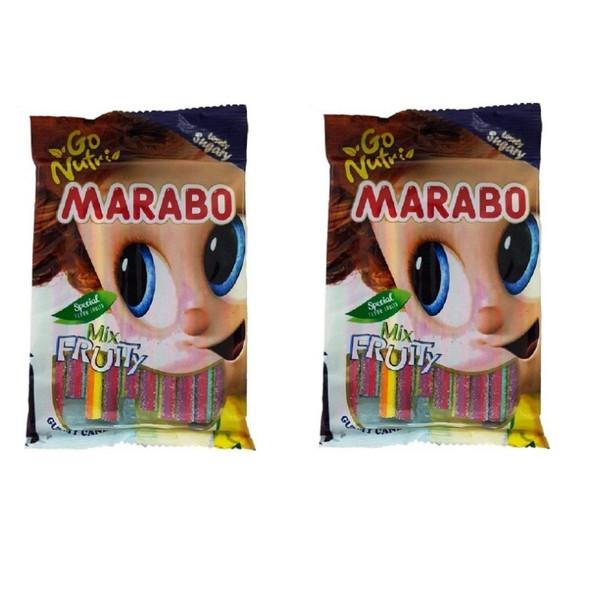 پاستیل لوله ای با طعم میوه مخلوط مارابو - 120 گرم بسته 2 عددی