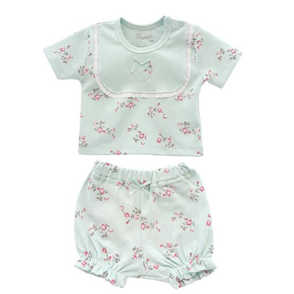ست تی شرت و شورت نوزادی دخترانه پولونیکس طرح فلوریا کد 25