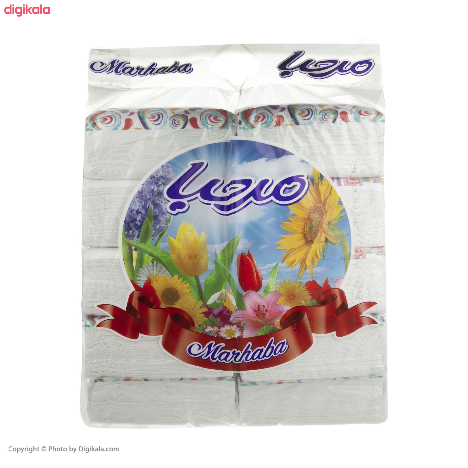 دستمال کاغذی 100 برگ مرحبا مدل Flower بسته 10 عددی main 1 4