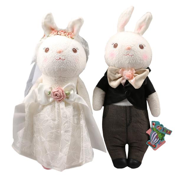 عروسک کیدزلند طرح خرگوش عروس و داماد ارتفاع 40 سانتی مترمجموعه دو عددی