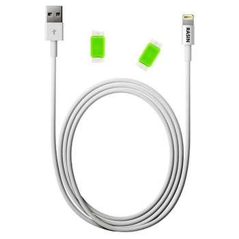 کابل تبدیل USB به لایتنینگ راسین مدل FR 43 طول ۲ متر به همراه دو عدد محافظ کابل