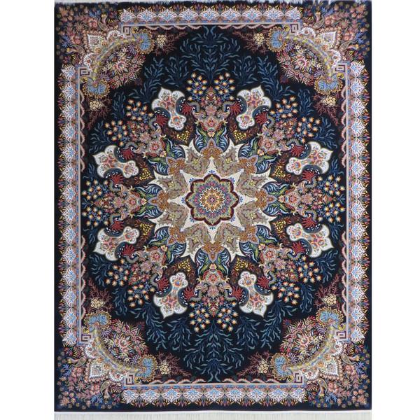 فرش ماشینی پارسه کدFSM117 زمینه سورمه ای
