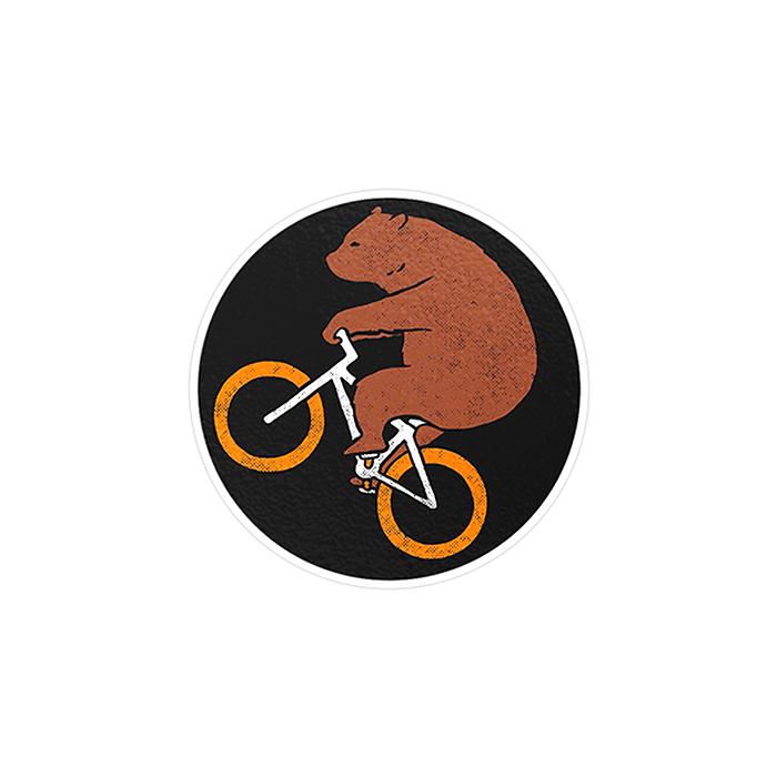 استیکر لپ تاپ ماسا دیزاین طرح خرس دوچرخه سوار مدل STK907