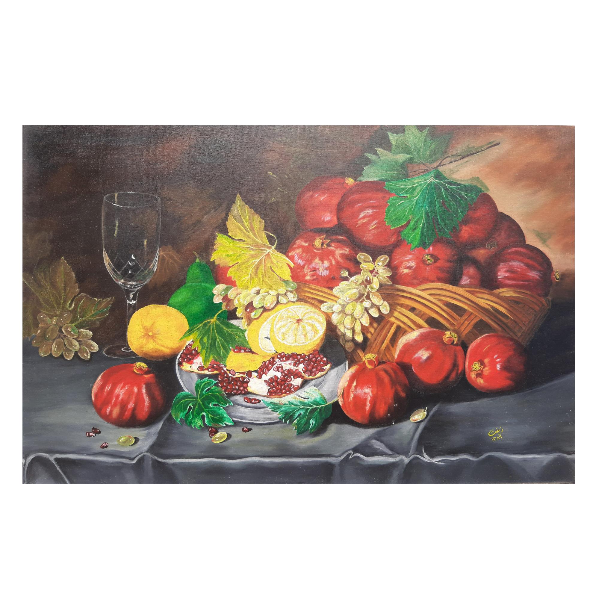 خرید                      تابلو نقاشی رنگ روغن مدل سبد میوه