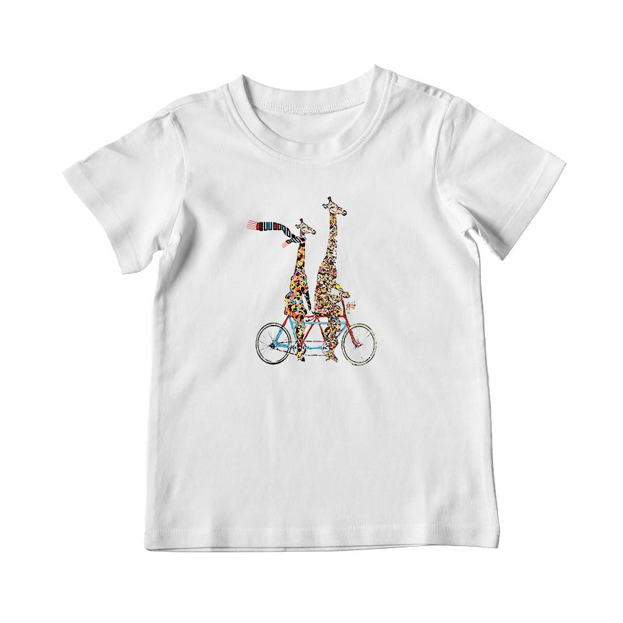 تی شرت بچگانه طرح دو زرافه و دوچرخه کد 005