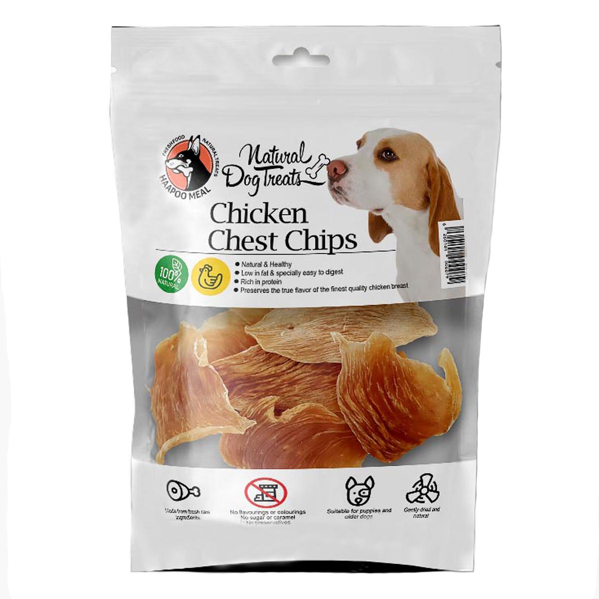 تشویقی سگ هاپومیل مدل Chicken Chest Chips کد 33 وزن 50 گرم