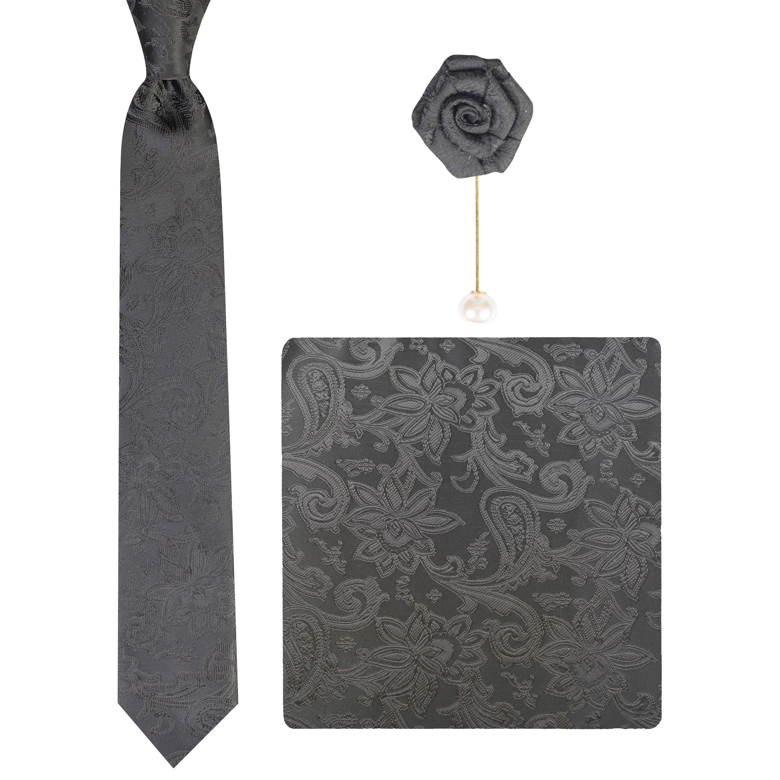 ست کراوات و دستمال جیب و گل کت مردانه جیان فرانکو روسی مدل GF-SF222-BK