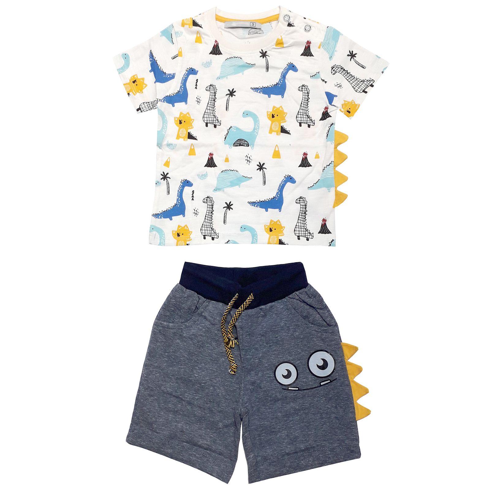 ست تی شرت و شلوارک پسرانه طرح دایناسور کد 2041 -  - 1