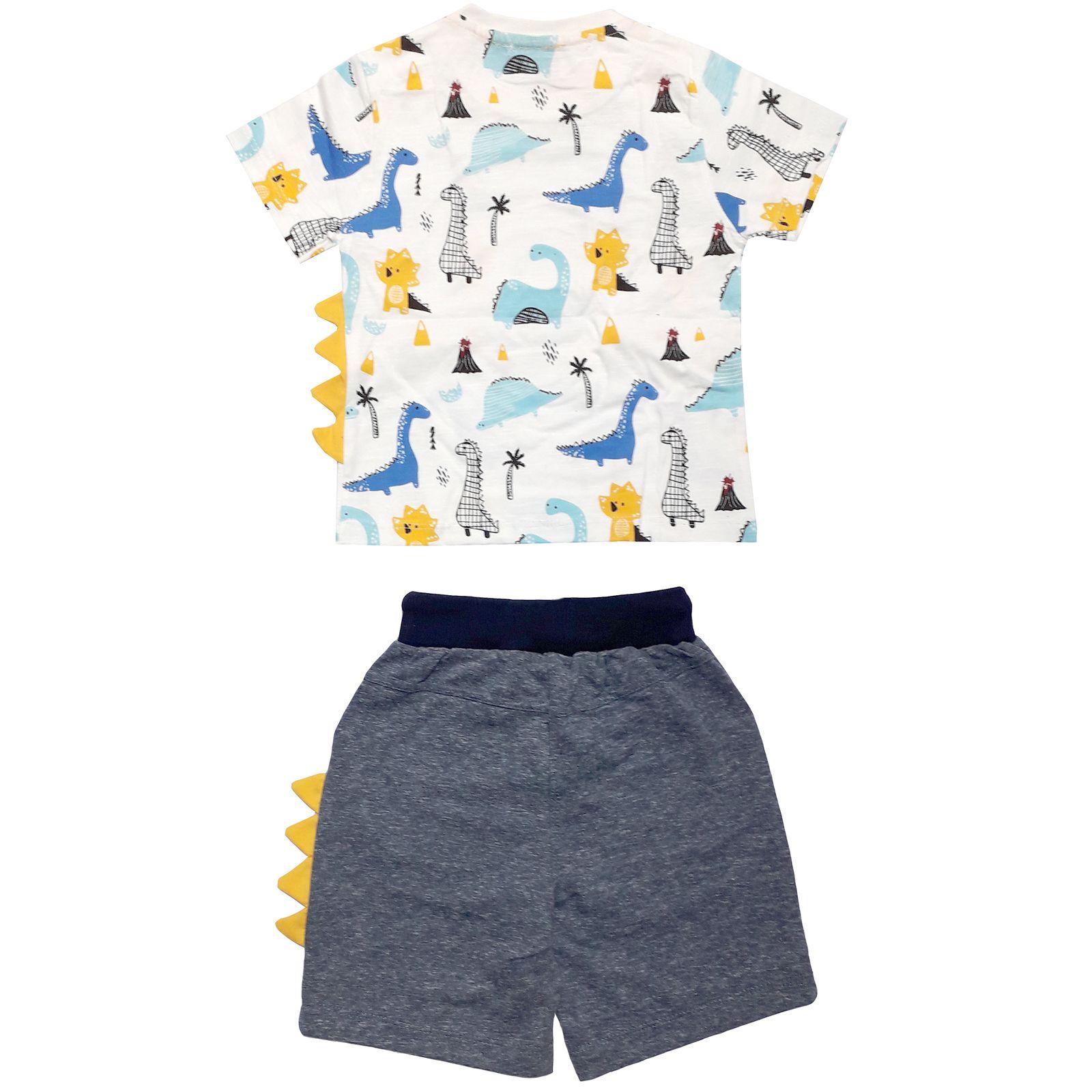 ست تی شرت و شلوارک پسرانه طرح دایناسور کد 2041 -  - 4