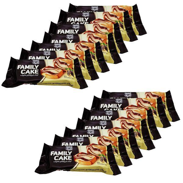 کیک شیر کاکائو خانواده نادری - 400 گرم بسته 16 عددی