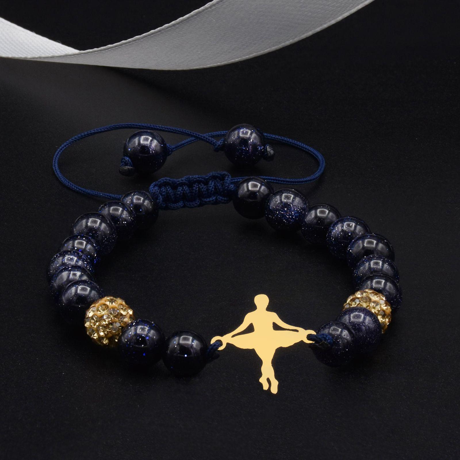 دستبند طلا 18 عیار زنانه آمانژ طرح بالرین کد 955D8902 -  - 1