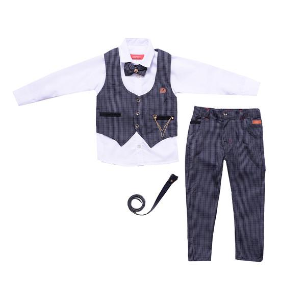 ست  سه تکه لباس پسرانه مدل MA-SP81095-SET.RS.P-KHA.T رنگ خاکستری تیره