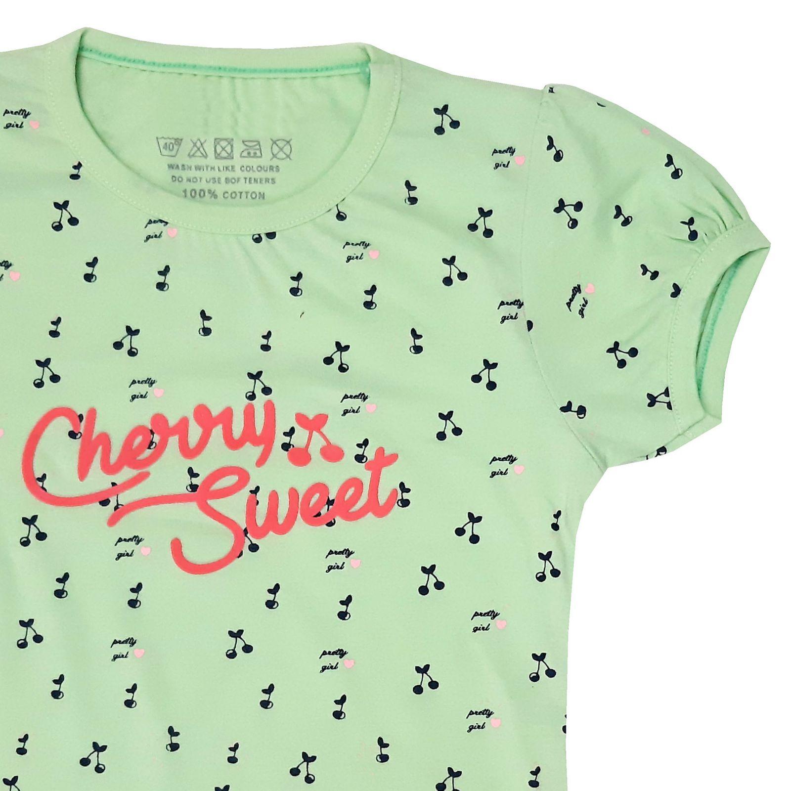 ست تی شرت و شلوارک دخترانه کد ARTIGRN1 -  - 4