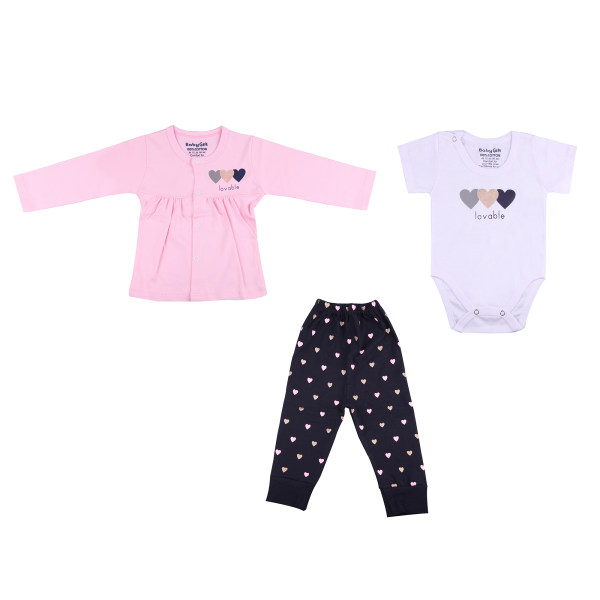 ست 3 تکه لباس نوزادی دخترانه طرح قلب