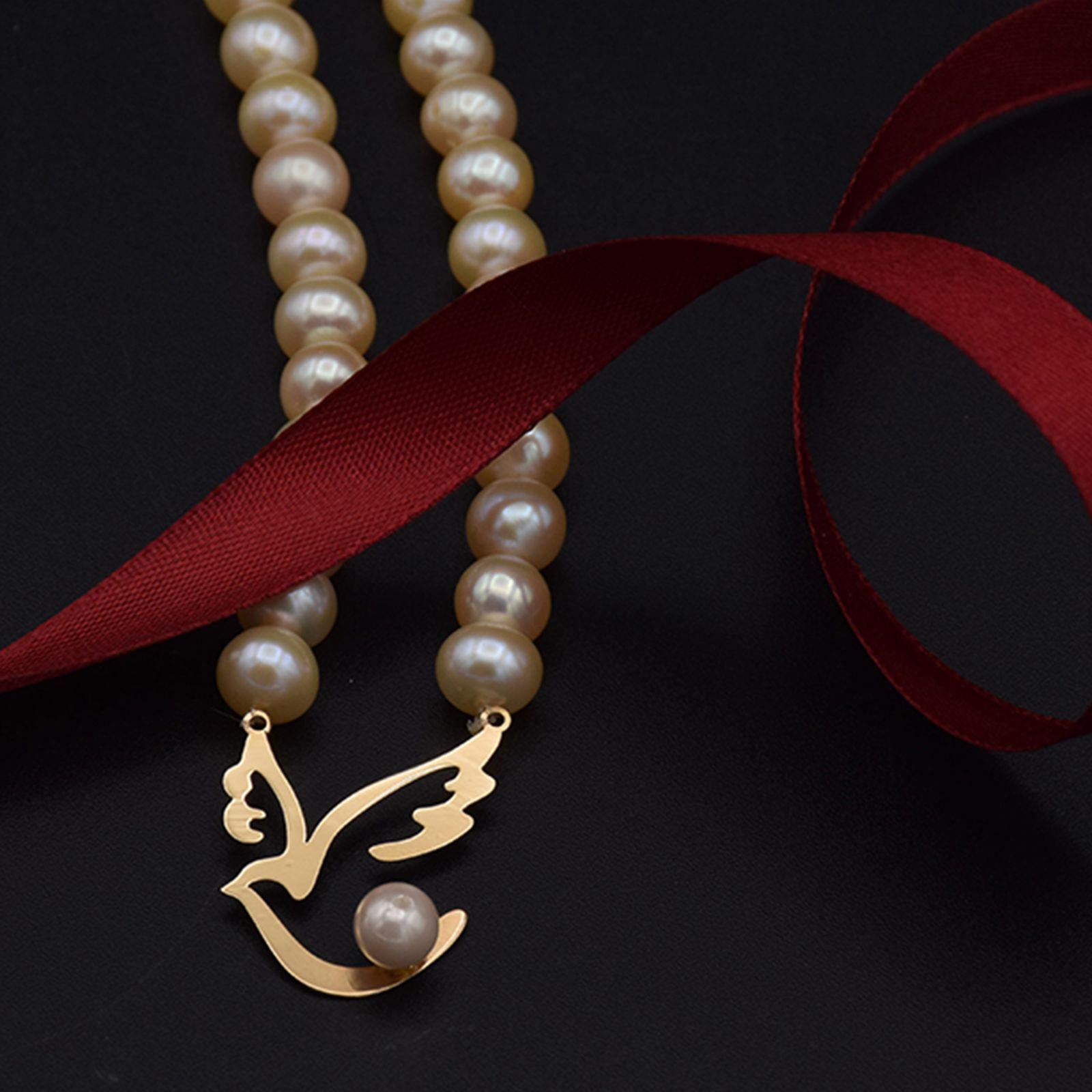 گردنبند طلا 18 عیار زنانه آمانژ طرح پرستو کد 896D3386 -  - 2
