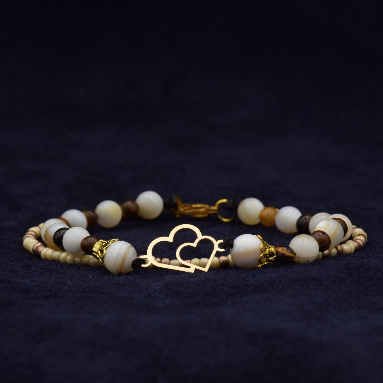 دستبند طلا 18 عیار زنانه آمانژ طرح قلب کد 972D8905 -  - 1