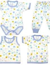 ست 4 تکه لباس نوزادی کد g211 رنگ آبی -  - 1