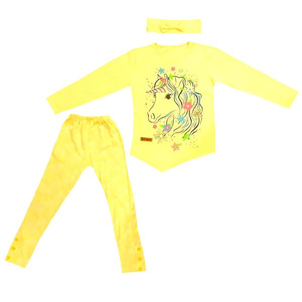 ست 3 تکه لباس دخترانه طرح تک شاخ کد 98120105