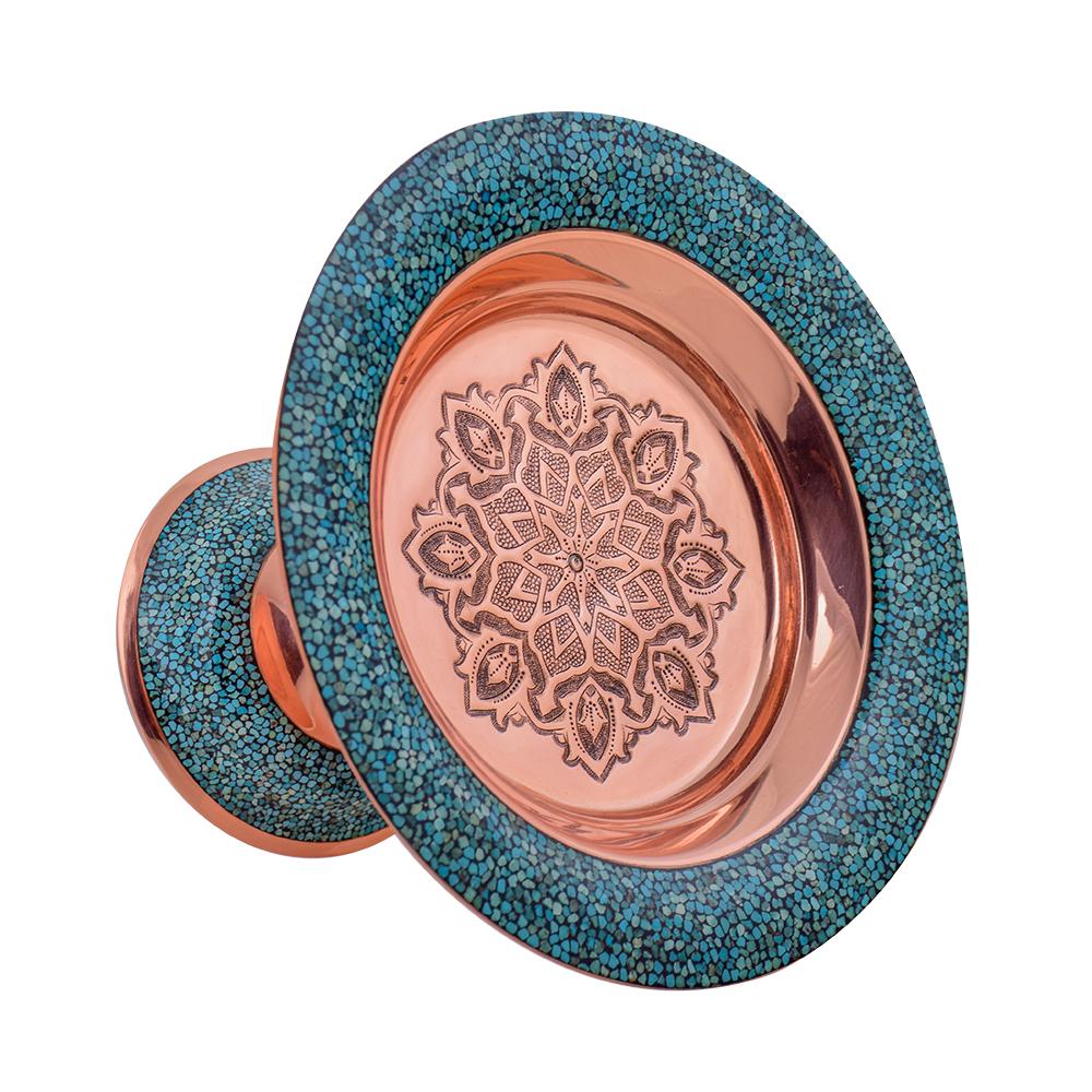 AGHAJANI Handicrafts Turquoise inlaying sweet dish, F046 Model