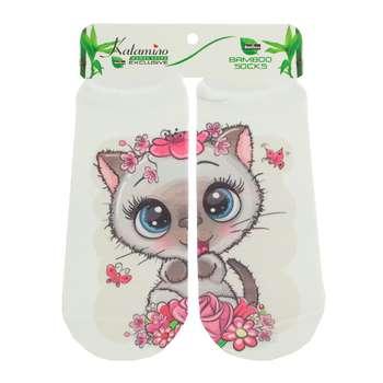 جوراب نوزاد کاتامینو طرح گربه مهربون