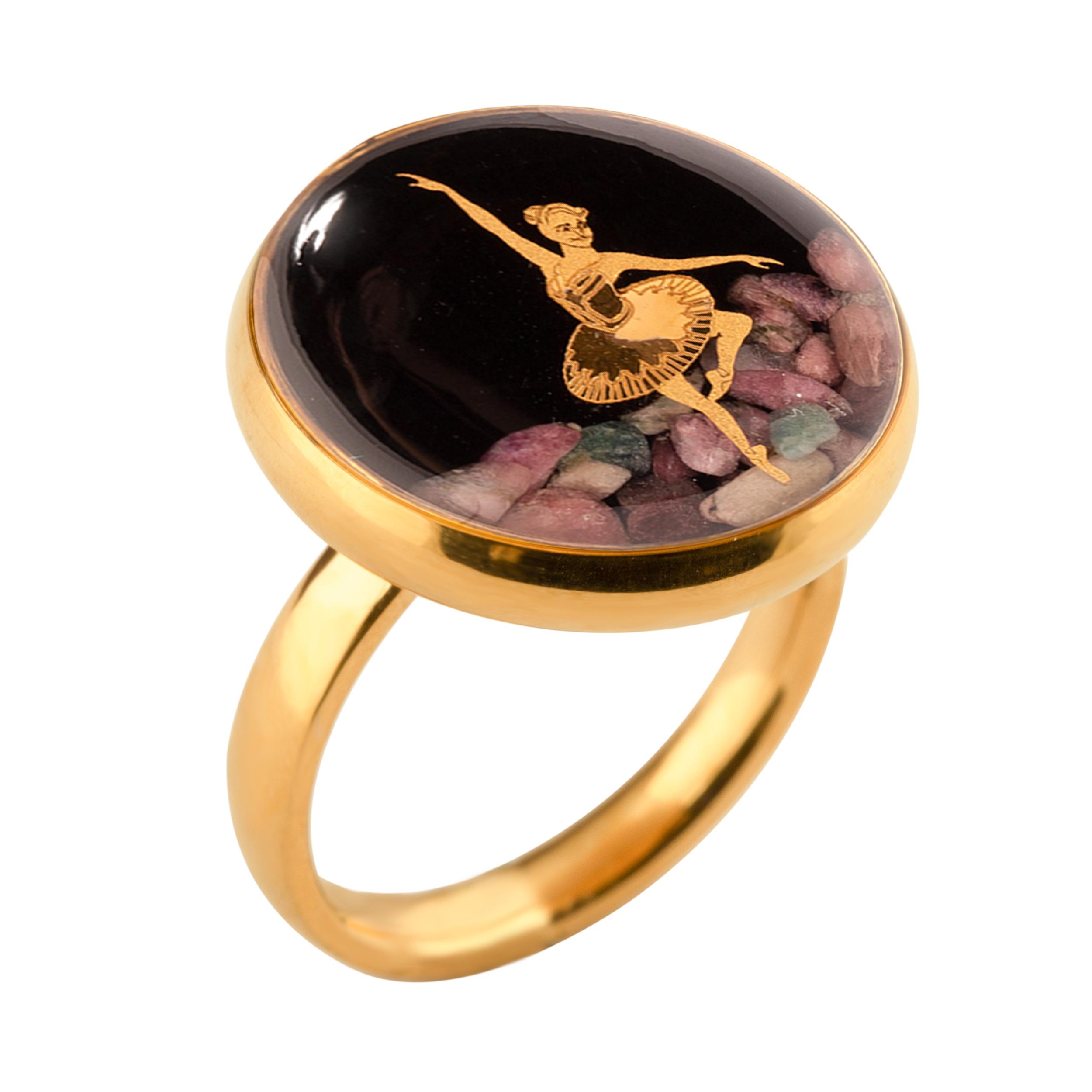 خرید                                      انگشتر طلا 24 عیار زنانه الون طرح رقص باله